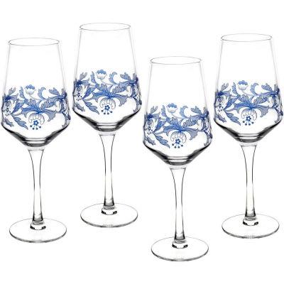 Spode Blue Italian Wine Glass Set of 4