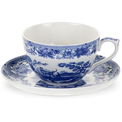 Spode Blue Room Jumbo Cup & Saucer Aesop's Fables