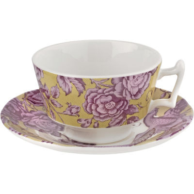 Spode Kingsley Teacup & Saucer Ochre
