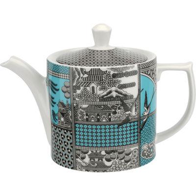 Spode Patchwork Willow Teapot Teal