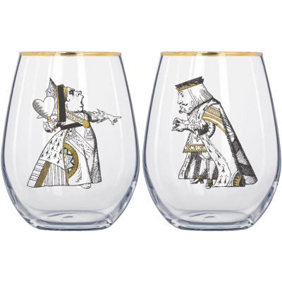 Victoria and Albert Museum Alice In Wonderland Tumbler Glass His & Hers Set of 2