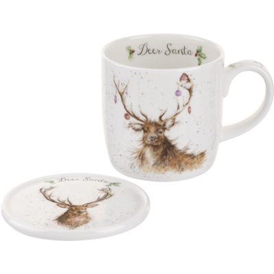 Wrendale Deer Santa Stag Mug & Coaster Set