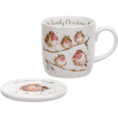 Wrendale Family Christmas Mug & Coaster Set