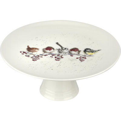 Wrendale Footed Cake Stand Birds One Snowy Day