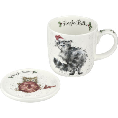 Wrendale Jingle Belle Cat Mug & Coaster Set