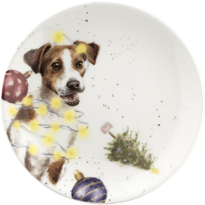 Wrendale Christmas Mouse & Dog Tea Plate 16.5cm Set of 2