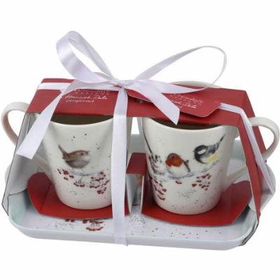 Wrendale Christmas Mug Pair & Tray Set Birds One Snowy Day