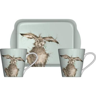 Wrendale Mug Pair & Tray Set Coloured Hare