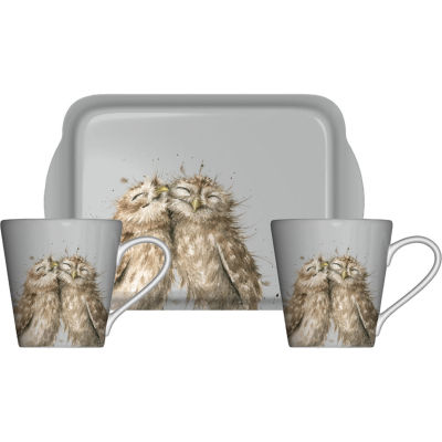 Wrendale Mug Pair & Tray Set Coloured Owl