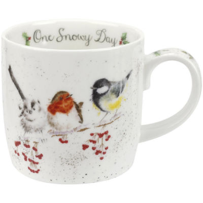 Wrendale One Snowy Day Birds Mug