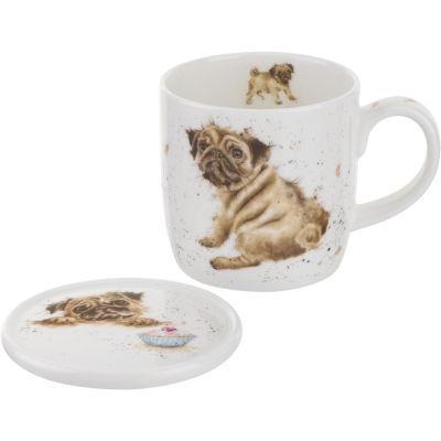 Wrendale Pug Love Mug & Coaster Set