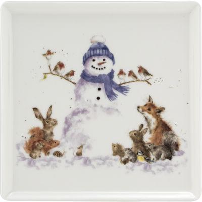 Wrendale Christmas Snowman Square Plate 18cm
