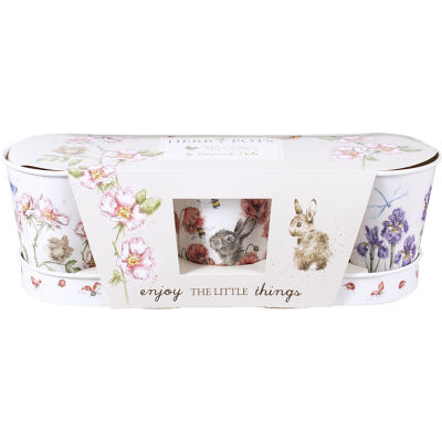 Wrendale Tinware Herb Pot & Tray Set Of 3 Meadow