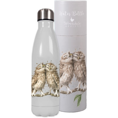 Wrendale Tinware Water Bottle Birds Of A Feather Owls