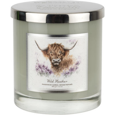 Wrendale Wax Filled Candle 2 Wick Everyday Windswept Heather Highland Cow