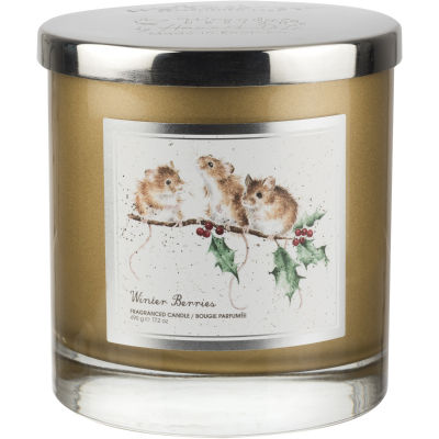 Wrendale Wax Filled Candle 2 Wick Winter Berries Mice