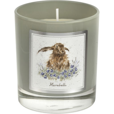 Wrendale Wax Filled Glass Candle 8cm Everyday Harebells Hare