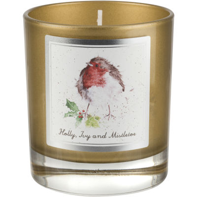 Wrendale Wax Filled Glass Candle 8cm Holly, Ivy & Mistletoe Robin