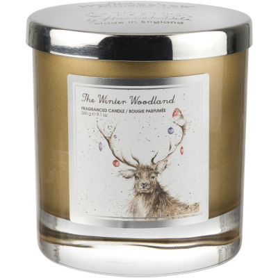 Wrendale Wax Filled Glass Candle 9cm Winter Wonderland Stag