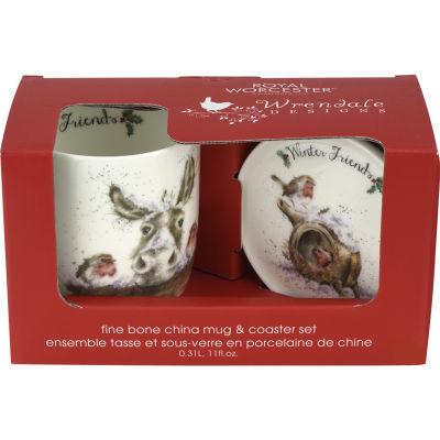 Wrendale Winter Friends Donkey & Robin Mug & Coaster Set